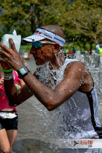 Assad Attamimi, 5th place overall and top age grouper reported having walked every aid station to maintain a low core temperature