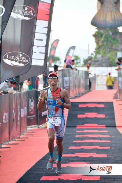 Jong at the finish chute at Ironman Malaysia, 10:17:32, 5th place M30-34 and 1st Filipino
