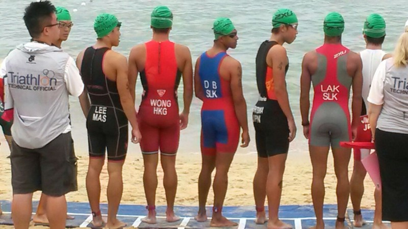 Lucky on the start line of his first ITU race in Singapore Aug/2014